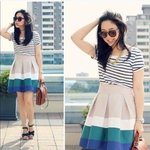 Zara Pleated Color Block Skirt